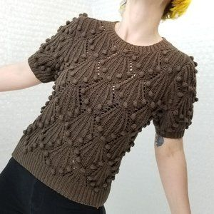 Vintage 80s Needleworks chocolate pompom knit top
